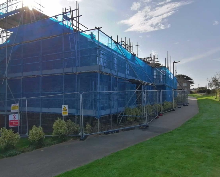 Residential scaffolding on houses in St Agnes, Cornwall